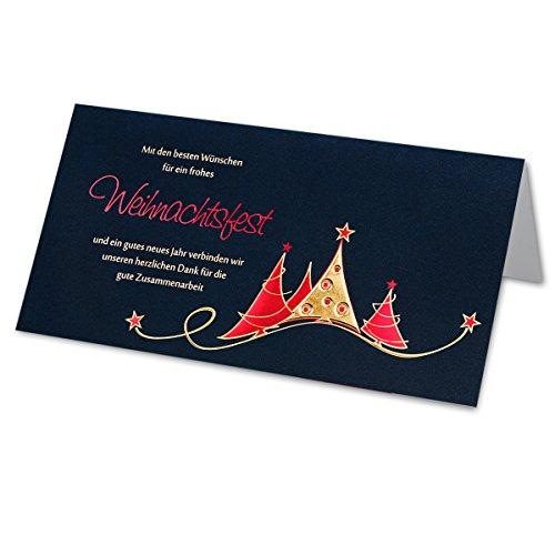 Preisvergleich Produktbild 25 Stück Business Weihnachtskarte DIN Lang | Tannen mit Rot-Gold-Metallic-Prägung | Inkl. 25 Stück cremefarbene Umschläge DIN Lang und weissen Einlegern