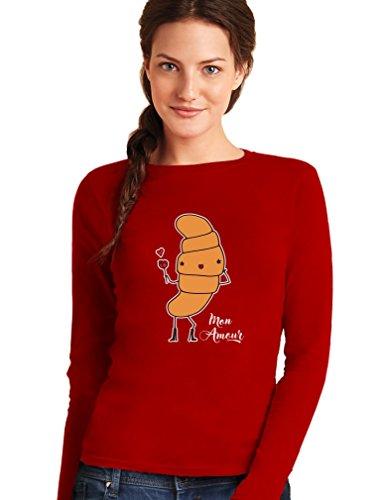 Green Turtle T-Shirts Mon amour - croissant parisiens amoureux T-shirt Manches longues Femme Rouge