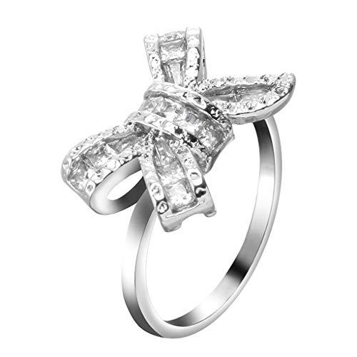 Floweworld Damen-Ring-Art- und Weisesilber-weißer Saphir-Bogen-Ring-Hochzeits-Verlobungs-Schmuck-Geschenke