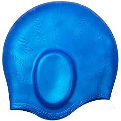 Gorro de natación, YOBOKO Premium Gorros de Silicona Impermeables para Hombres y Mujeres para unisex de hombres y mujeres adultos Especialmente Para Pelo Largo (Blue)