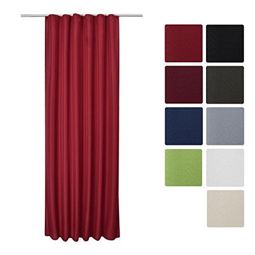 Beautissu Blickdichter Kräuselband-Vorhang Amelie - 140x245 cm Rot Uni - Dekorative Gardine Universalband Fenster-Schal