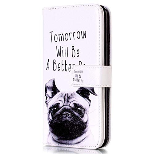 LG G4 Stylus Hülle,LG G4 Stylus Lederhülle,Surakey Handyhülle LG G4 Stylus PU Leder Wallet Tasche Brieftasche Schutzhülle Bunte Muster Flip Hülle Ledertasche Magnet Etui Handytasche, Mops