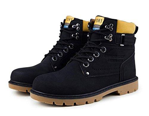 Brinny Herren Stiefeletten Worker Boots Outdoorschuhe Schnürstiefel Schwarz