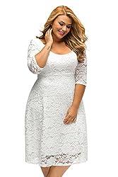 ILFtrend Spitze Blumen Große Größen Kleid Partykleider Cocktail Kleid Weiß (XXXL)