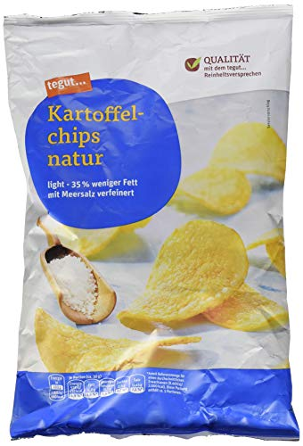 tegut... Kartoffel Chips natur light mit Meersalz verfeinert, 170 g
