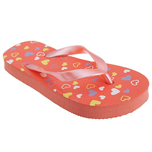 FLOSO® Childrens Girls Heart Patterned Toe Post Flip Flops (UK Child 13/1 UK) (Coral)