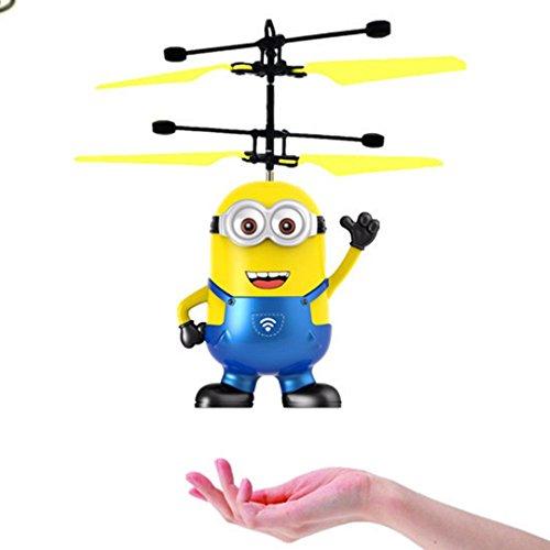 Niños que vuelan los juguetes, bola que vuela, bola del helicóptero de la inducción infrarroja de RC incorporada Iluminación brillante del cambio del color LED para los niños, adolescencias (azul)