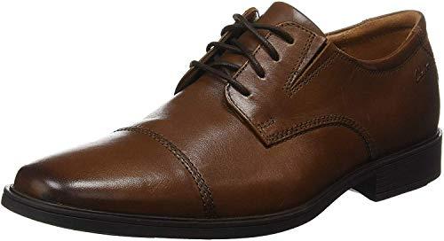 Clarks Tilden Cap, Zapatos de Cordones Derby para Hombre, Marrón Dark TanLea, 44 EU
