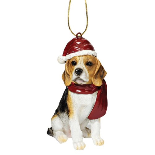 Design Toscano Beagle Holiday Dog Christmas Tree Ornament Xmas Decorations, 8 cm, Polyresin, Full Color