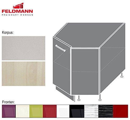 Eck Unterschrank 169920 Küchenschrank 90x90cm Korpus- und Frontfarbe wählbar (PN-D12R)