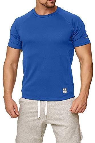 Happy Clothing Herren Sport T-Shirt kurzarm Trikot Sommer Funktionsshirt Fitness Top, Größe:M, Farbe:Blau -