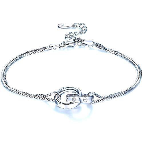 Armbänder Damen 925 Sterling Silber Doppel Ring Armband Romantik Armkette mit Zirkonia Ineinandergreifende Unendlichkeits Anhänger für Frauen Jahrestag Geburtstag Schmuck Geschenk