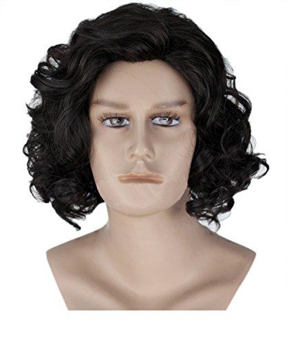Halloween Kostüm Jon Snow Herren Perücke Wig Schwarz Kurz Lockig Welliges Haar Zubehör