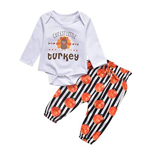 Comie Baby Kleidung Sets, Neugeborenes Baby Girl Boy Türkei Erste Thanksgiving Strampler Hosen Outfits Set, Süß Langärmliges Hemd Weiß