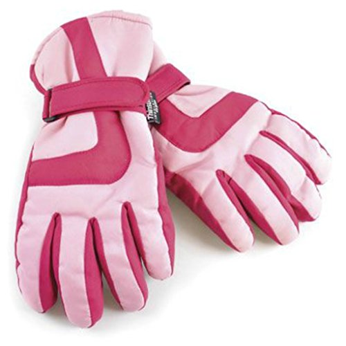 Kids Ski Gloves for Winter Sports, Skiing, Snowboarding - Boys or Girls - Warm, Thermal, Padded – Pink 8-9 Years