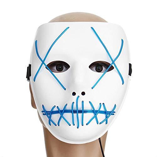 ZhengFei Motorrad Halloween Horror Kostüm Light Up Gesichtsmaske Smiling Stitched Rave Cosplay (Farbe : - Light Up Rave Kostüm