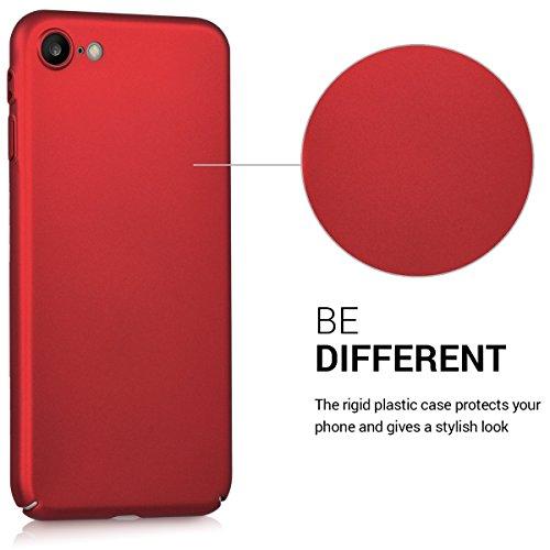 kwmobile Hülle für Apple iPhone 7 / 8 - Backcover Case Handy Schutzhülle Kunststoff - Hardcase Cover Schwarz Metallic Dunkelrot