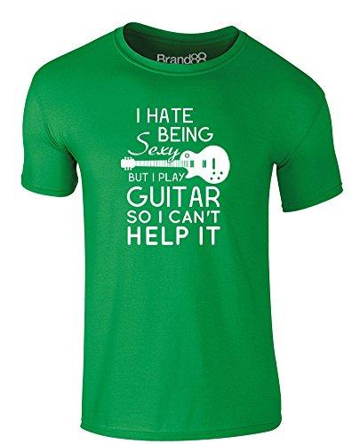 Brand88 - I Play Guitar, Erwachsene Gedrucktes T-Shirt Grün/Weiß