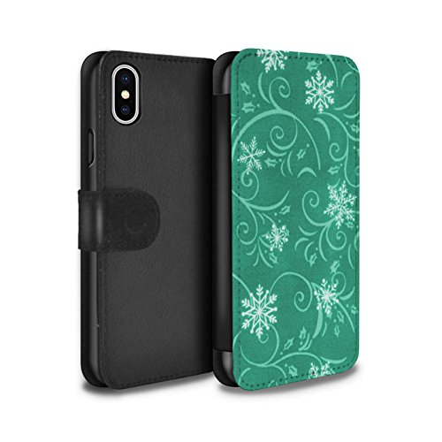 Stuff4 Coque/Etui/Housse Cuir PU Case/Cover pour Apple iPhone X/10 / Rouge Design / Motif flocon de neige Collection Turquoise