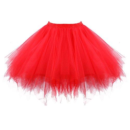 Honeystore Damen's Tutu Unterkleid Rock Abschlussball Abend Gelegenheit Zubehör Rot (Teufel Halloween Kostüm)