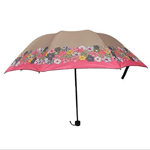 LZX Klappschirm kleine frische Sonnencreme Regenschutz und Regen Dual-Use-schwarzer Plastiksonnenschirm,Brown