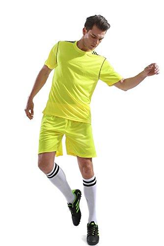KINDOYO Männer Fußball Kleidung Anzüge Sportbekleidung Rundhals Oberteile & Shorts Set Sport Wettbewerb Training Kostüm, Gelb/S