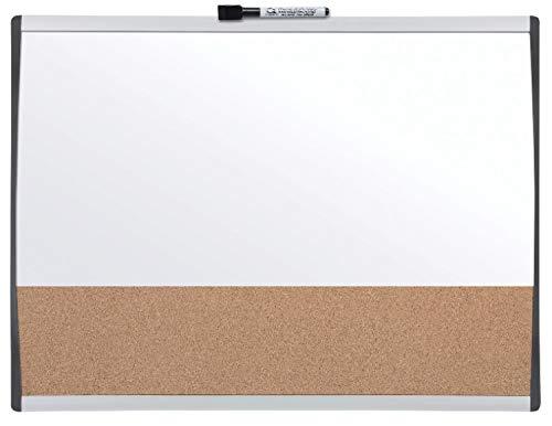 Rexel Magnetische, Trocken Abwischbare Tafel/Korkpinnwand, 585 x 430 mm, Mit Bogenrahmen, Inkl. Marker, Magneten und Montage-Kit, Weiß, 1903810