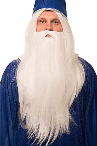 Zauberer Perücke in weiß im Set mit weißem Bart für Herren & Damen Magier Hexer Gandalf Merlin Fasching Karneval
