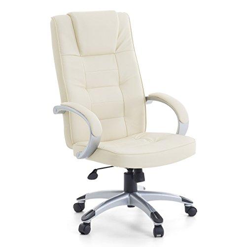 """Leder Chefsessel Massagesessel """"San Diego"""" Sessel mit Massage + Heizung Farbe beige / cremefarben / elfenbein + Silber für Büro Ledersessel Bürostuhl Drehstuhl günstig"""