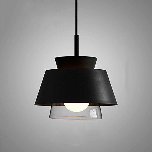 Hines Einfache 1-Licht-Eisen-Glas-Decken-Pendelleuchte Creative Modern Restaurant Küche E27 Dekoration Schlafzimmer Nachttischlampe Kronleuchter mit 1,5 M einstellbaren Hängedraht (Color : Black) - Eisen Band 1 Licht