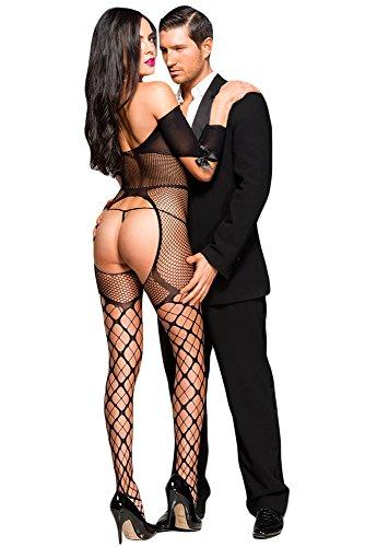 Damen Schwarz Kurz Sexy Öffnen Tasse Netzs Off-Schulter Bodystocking mit Bogen Strumpf (Bodystocking Strümpfe)