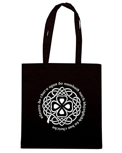 T-Shirtshock - Borsa Shopping T0114 QUADRIFOGLIO religioni celtic Nero