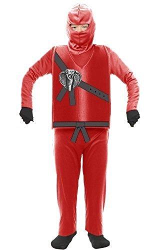 Charades Ninja Master rot Kinder Kostüm Ninjago(Kinder Medium (Ninjago Ninja Roter)