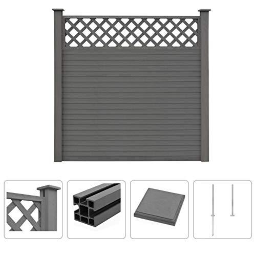 Festnight- WPC Zaun-Set mit Rankgitter Quadrat Sichtschutz Gartenzaun 183 x 185 cm Grau