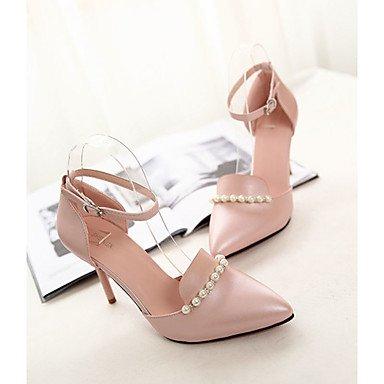 LvYuan Damen-Sandalen-Lässig-Leder-Stöckelabsatz-Komfort-Schwarz Blau Rosa Weiß Pink