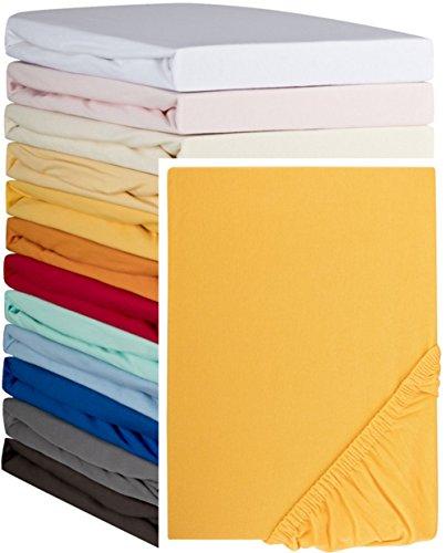 Aminata – hochwertiges Spannbettlaken á 140x190 cm – 160x200 cm aus Jersey mit Rundumgummi in Gelb Bettlaken Spannbetttuch Maisgelb Gelborange Laken Baumwolle Doppelbett