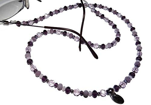 ARTemlos® Handmade Damen-Brillenkette aus Edelstahl und Perlen in lila