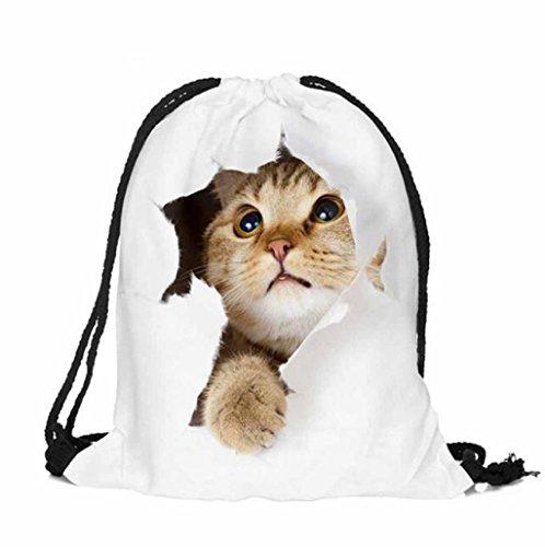 Sannysis - bolsos de mujer con cordón, mochila infantil impresión de mascota (05)
