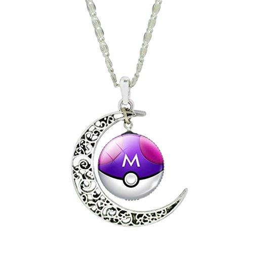 Lila Billig Modeschmuck (Mnpkmn - Pokemon Poke-Kugel-Halskette Go 'Pokeball mit doppelter Cabochon Anhänger Mond und eine Auswahl in 7 Farben)
