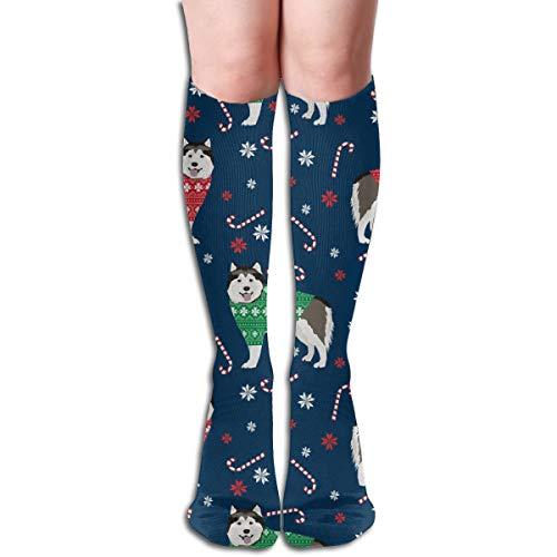 Alaskan Malamute Sweatshirt (Women's Fancy Design Stocking Alaskan Malamute Xmas Sweater Dog - Cute Dog, Holiday, Xmas, Red And Green - Navy Multi Colorful Patterned 50CM(19.6Inchs) Knee High Socks)