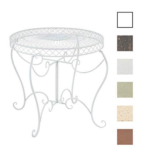 CLP Eisentisch Sheela im Jugendstil I Gartentisch mit geschwungenen Beinen und kunstvollen Verzierungen I erhältlich Weiß