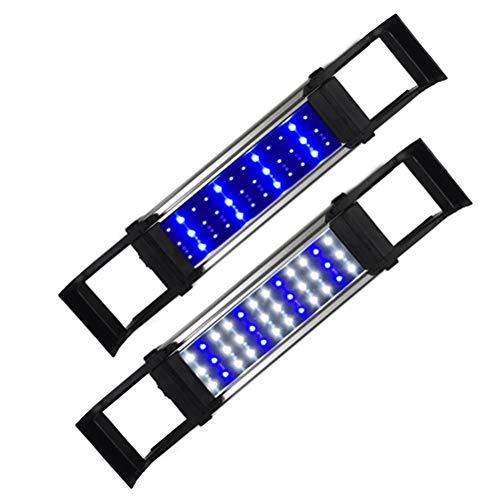 QinnLiuu LED-Aquariumhaubenleuchte - Aquariumleuchte, Vollspektrum-LED-Aquariumleuchte mit ausziehbaren Halterungen, kombinierte Beleuchtungsfarbe Weiß und Blau