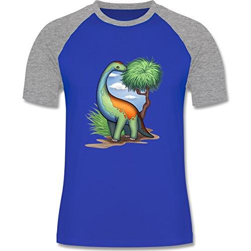 Sonstige Tiere - Dino - Langhals - zweifarbiges Baseballshirt für Männer Royalblau/Grau meliert