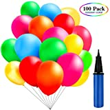 TedGem 100 Ballons Colorés avec la Pompe Bleue,Ballons pour Fêtes, Anniversaire, Cérémonie de Mariage, Party, Ballons de Fête de Couleur pour Fête d'anniversaire de Mariage (Coloré)