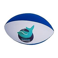 Idea Regalo - Team Magnus Palla da rugby in gomma e neoprene per la spiaggia e per la piscina (Blu/Bianco)