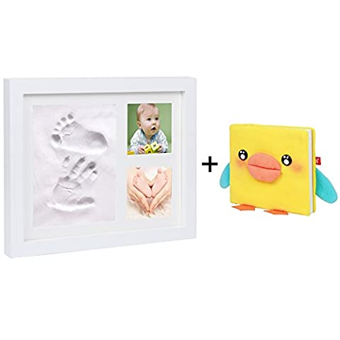 Cinoton Baby Newborn Baby Handprint and Footprint Touch Clay Kit Wood Photo Frame Wall and Desk Decor - Ideal Baby Shower Gifts (Cream white)