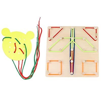 Sharplace 2Pcs Kids Wooden Toys, Geoboard & Lacing Board Set, Early Educational Toy for Baby Toddlers from non-brand