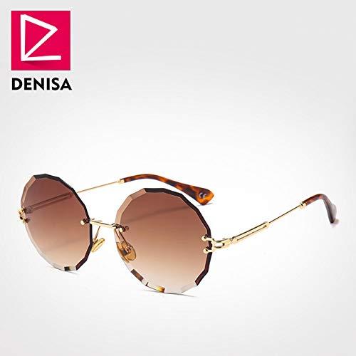 MOMOQU Sonnenbrille Vintage Runde Sonnenbrille Damen Herren Mode Randlose Brille Retro Rosa Sonnenbrille Damen Zonnebril Dames D Braune Sonnenbrille