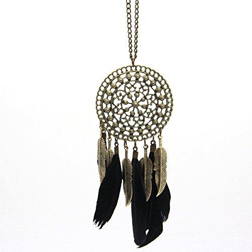 yode Sity lunga collana catena collana accessori pennino fogli ciondolo donna böhmische gioielli, base metal, colore: black, cod. wsd160755509-01