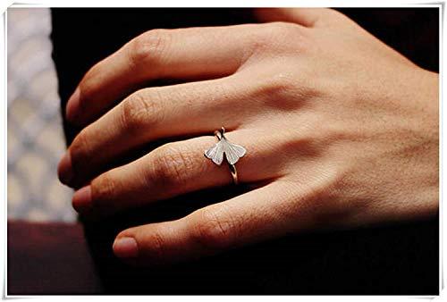 HOUHOUNNPO GINKGO - kleiner Sterling Silber Ginkgo Ring - Ginko Biloba Blatt - hergestellt in Italien